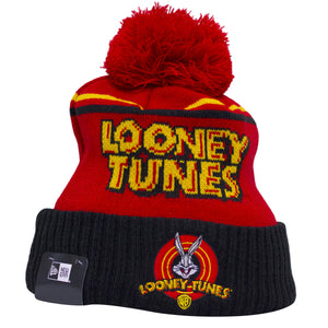 the bugs bunny looney tunes winter beanie has a red crown, black raised cuff, and a red pom on the front of the beanie a looney tunes logo with bugs bunny embroidered