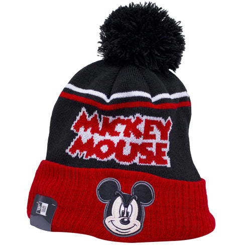on the front of the mickey mouse winter beanie, there is a mickey mouse logo on the raised red crown, and mickey mouse lettering on the crown