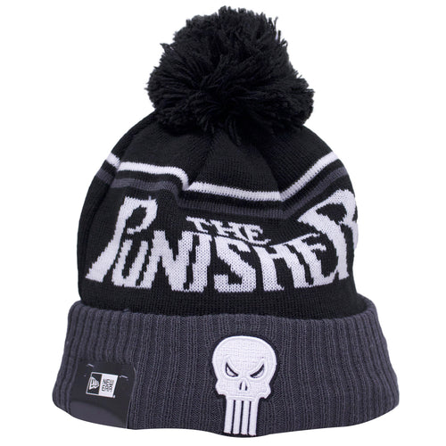 on the front of the punisher winter beanie, there is a white punisher logo on a gray and black winter beanie