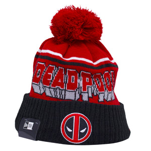 the deadpool superhero comic book inspired beanie has a red crown and a raised black cuff with the deadpool logo embroidered on the front