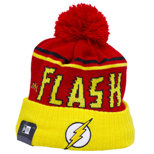 on the front of the flash retro dc comic book inspired pom beanie, the flash logo is embroidered in yellow, white, and black. On the front of the crown, the flash retro lettering is in yellow and black