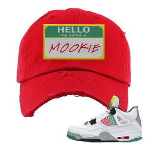 Jordan 4 WMNS Carnival Sneaker Red Distressed Dad Hat | Hat to match Do The Right Thing 4s | Hello My Name Is Mookie