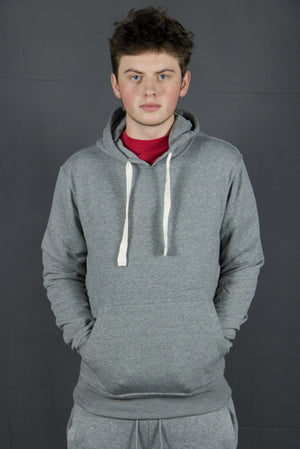 The heather grey basic hooded fleece sweatshirt features a heather grey coloring