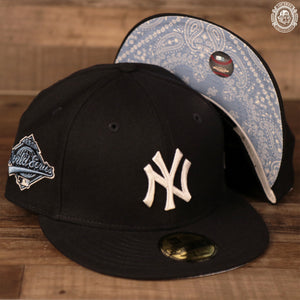 Icy light blue 1996 World Series logo on the navy New Era 59fifty
