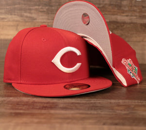 Front and Bottom View of the Cincinnati Reds 59Fifty Gray Bottom Hat