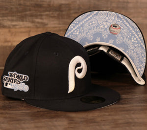 New Era Philadelphia Phillies navy fitted hat with icy light blue bandana underbrim