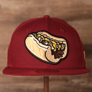 Philly Cheesesteak Maroon Gray Bottom Fitted Cap | Philadelphia Cheesesteak With Onions Maroon Grey Bottom Fitted Hat the front of this cap has a classic Philly Cheesesteak with inions and cheese whiz