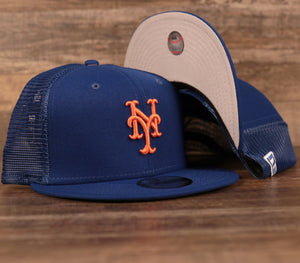The royal blue New York Mets mesh 9fifty snapback hat by New Era.