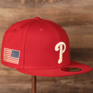 Phillies Red Crystal American Flag Gray Bottom Fitted Cap | Philadelphia Phillies American Flag Swarovski Grey Underbrim Red Fitted Hat is phillies cap is a new era and Swarovski product