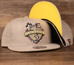 The animaniacs snapback hat is heather grey with a yellow under brim