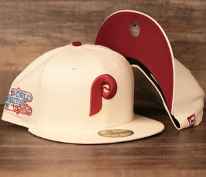 New Era Philadephia Phillies Cream 1980 World Series Fitted Caps with IMaroon Brim Bottom