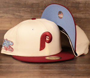 New Era Philadephia Phillies Cream and Maroon 1980 World Series Fitted Caps with Icy Light Blue Brim Bottom
