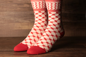 The Arab checkered headscarf socks are red and white featuring the iconic Palestinian pattern