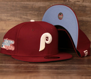 New Era Philadephia Phillies Maroon 1980 World Series Fitted Caps with Icy Light Blue Brim Bottom