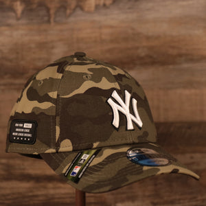 The New York Yankees Armed Forces Day 2021 woodland camo 9twenty Dad hat by New Era.