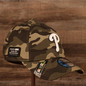 The woodland camo National League Philadelphia Phillies 2021 Armed Forces Day 920 dad hat.