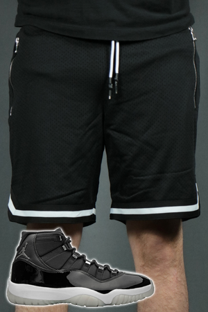 A pair of the black basketball zipper pocket shorts by Jordan Craig. Perfect to match Air Jordan 11 Jubilee