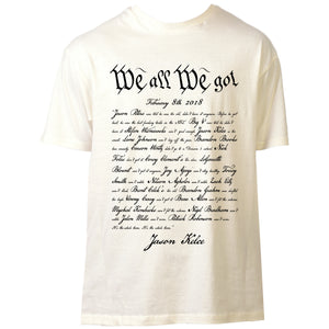 on the front of the oatmeal We All We Got Jason Kelce Super Bowl Parade Speech t-shirt is Jason Kelce's Speech written in the style of the constitution