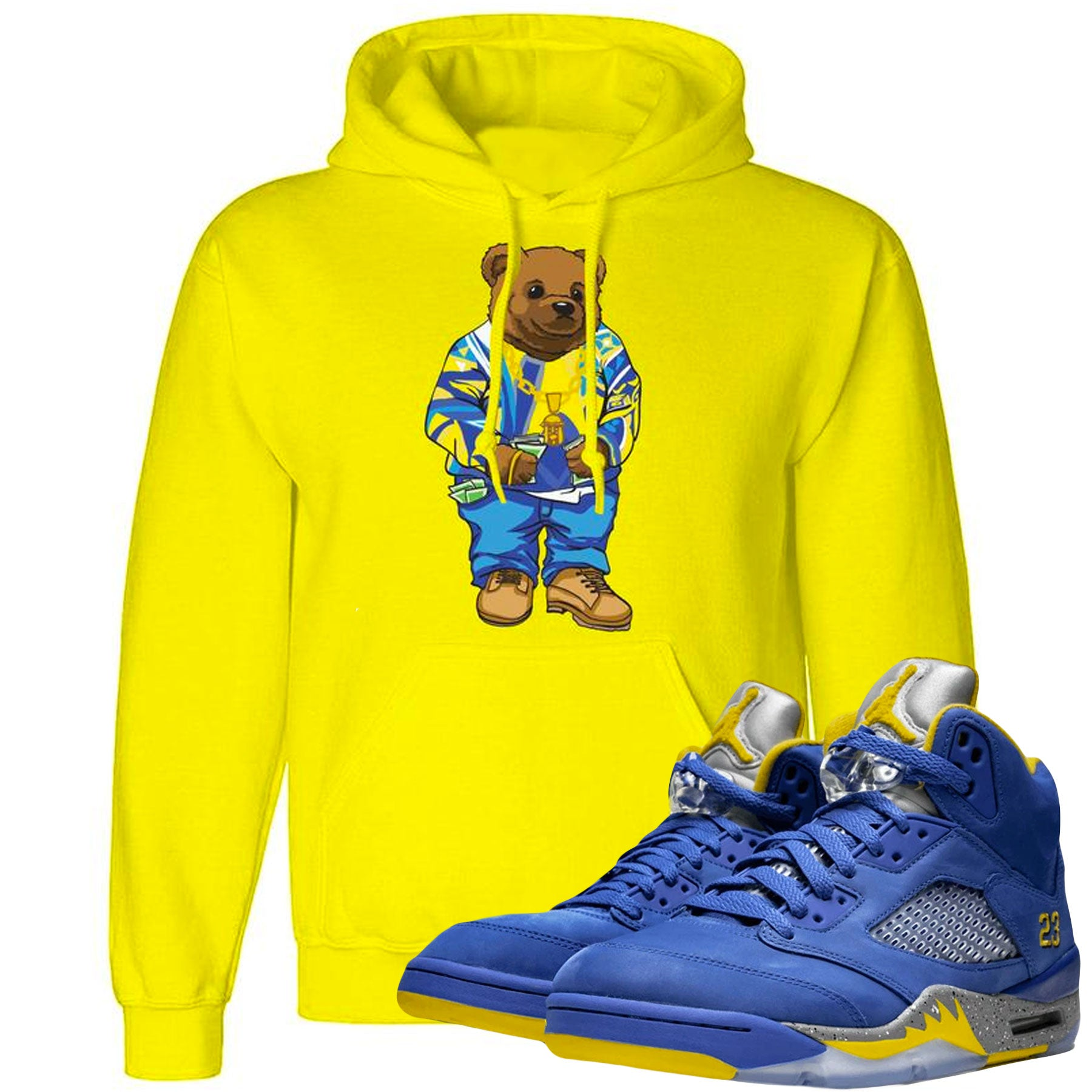 7d041d742bea83 Jordan 5 Alternate Laney JSP Sneaker Matching Biggie Bear Yellow Hoodie