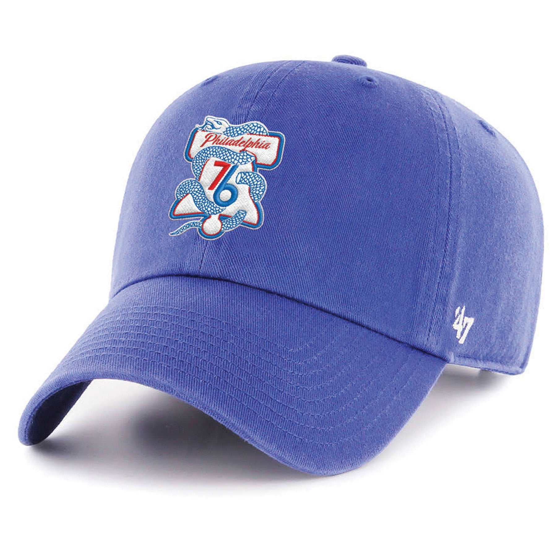 df8dce62 embroidered on the front of the philadelphia 76ers snake and liberty bell  dad hat is the