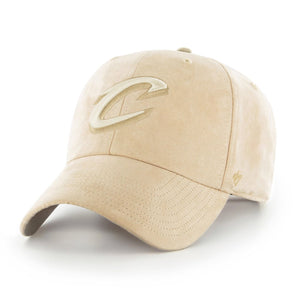 on the front of the cleveland cavaliers khaki tonal ultra basic dad hat is the cleveland cavaliers logo embroidered in tonal khaki