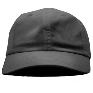 The blank dark gray dad hat has no design on the front, a soft crown and a bent brim.