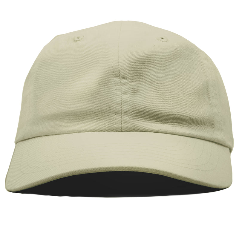 The blank ivory dad hat has no design on the front, a soft crown and a bent brim.