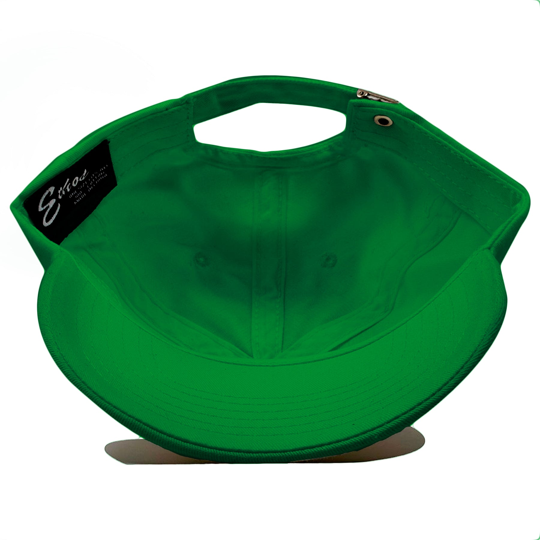 5aad3f3f6cc13 The interior of the blank kelly green ball cap is kelly green.