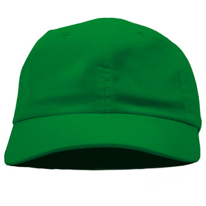 The blank kelly green dad hat has no design on the front, a soft crown and a bent brim.