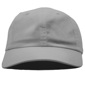 The blank light gray dad hat has no design on the front, a soft crown and a bent brim.