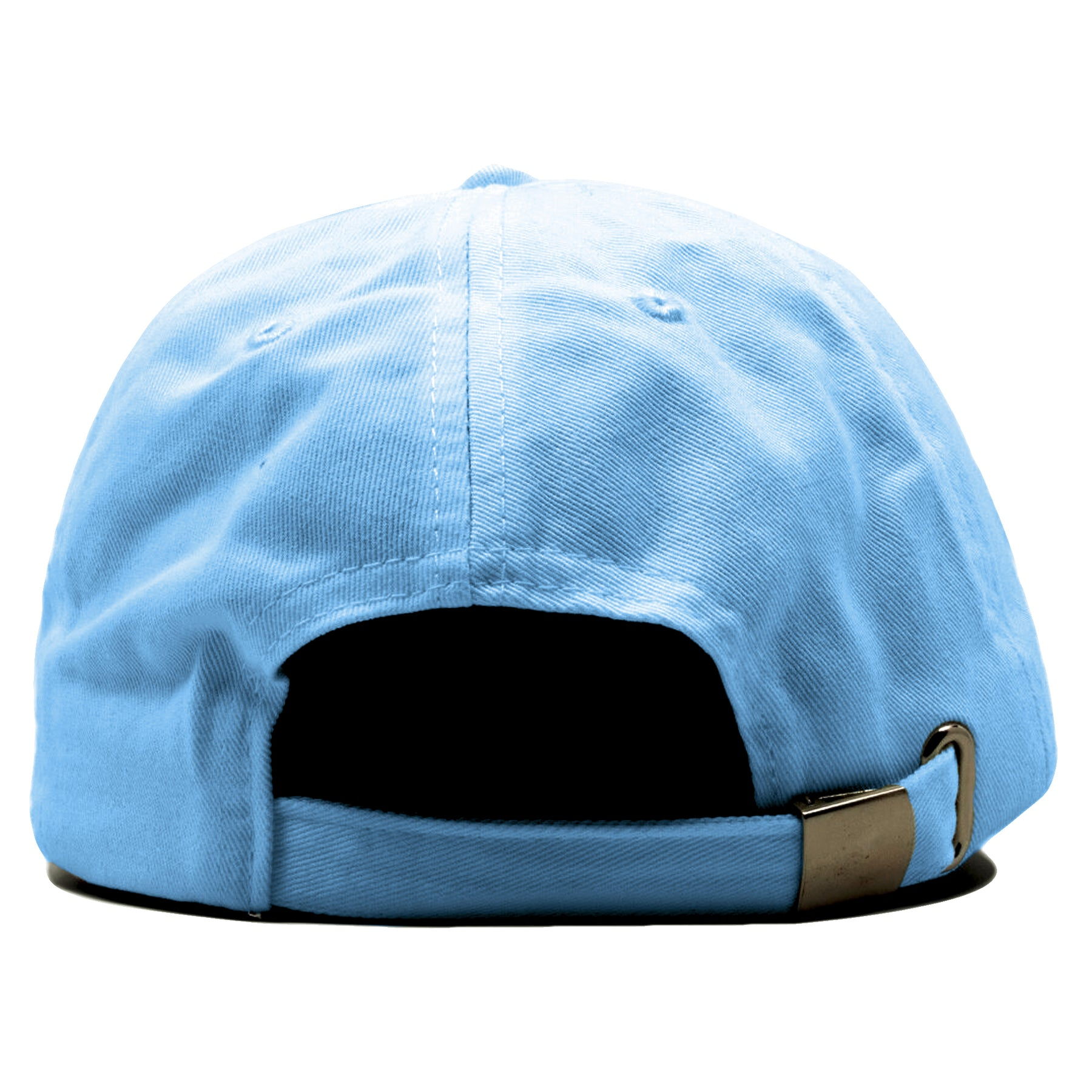 73c0833f3025ee ... On the back of the blank sky blue dad hat is a sky blue adjustable  strap ...