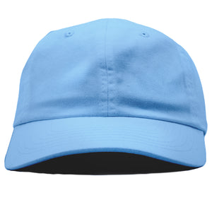 The blank sky blue dad hat has no design on the front, a soft crown and a bent brim.