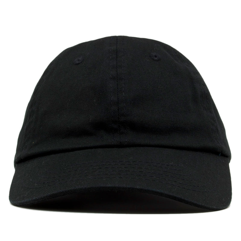 The blank black dad hat has no design on the front, a soft crown and a bent brim.