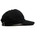 The blank black dad hat is solid black and made of 100% cotton.