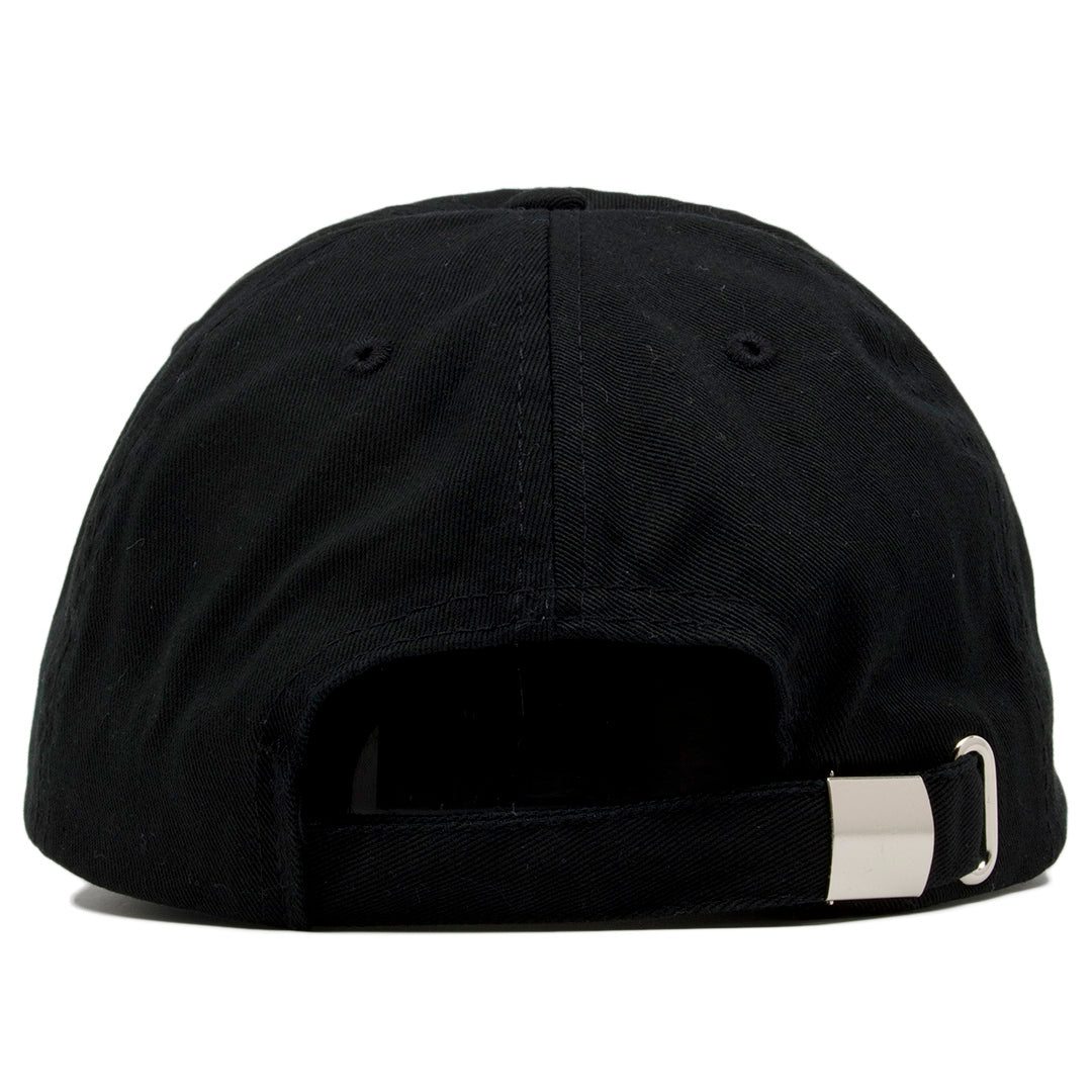 On the back of the blank black dad hat is a black adjustable strap. d017cae72f4