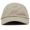 The blank khaki dad hat has no design on the front, a soft crown and a bent brim.