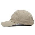 The blank khaki dad hat is solid khaki and made of 100% cotton.