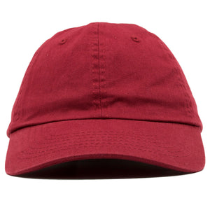 The blank maroon dad hat has no design on the front, a soft crown and a bent brim.