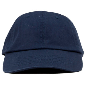The blank navy dad hat has no design on the front, a soft crown and a bent brim.