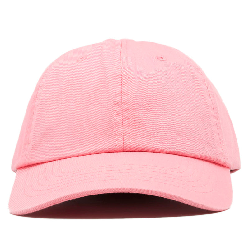 The blank pink dad hat has no design on the front, a soft crown and a bent brim.