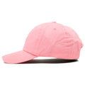 The blank pink dad hat is solid pink and made of 100% cotton.