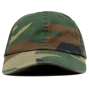 The blank camo dad hat has no design on the front, a soft crown and a bent brim.