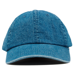The blank denim dad hat has no design on the front, a soft crown and a bent brim.