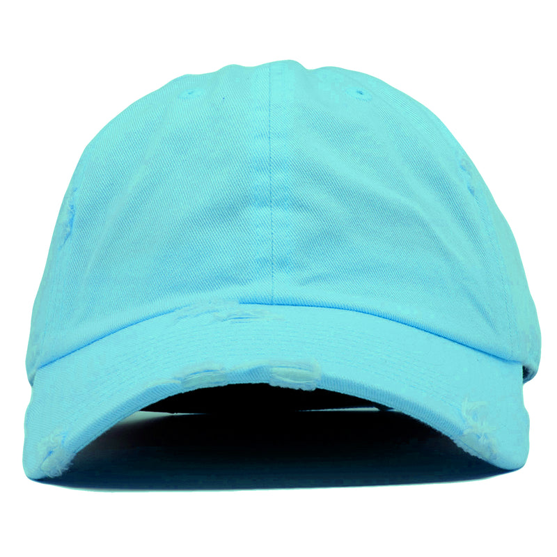 The blank diamond blue vintage distressed dad hat has a soft crown and a bent brim.