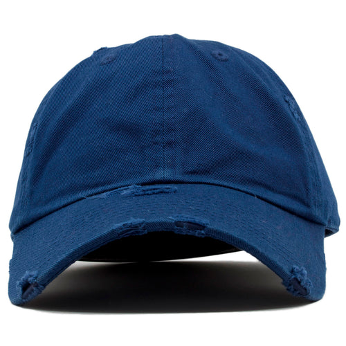 574de13a7a4 The blank navy vintage distressed dad hat has a soft crown and a bent brim.