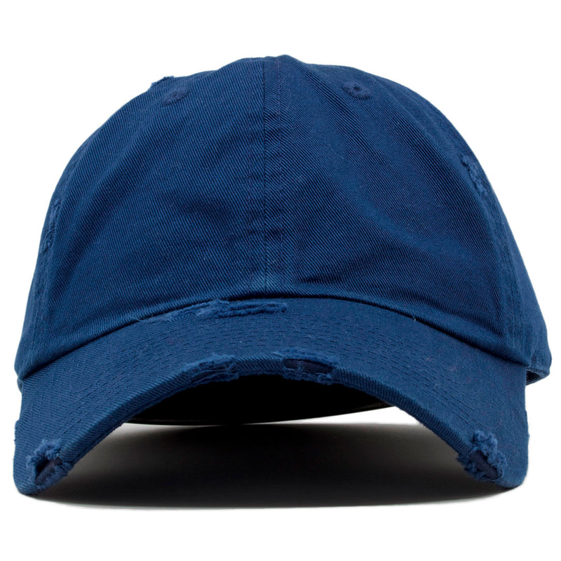 The blank navy vintage distressed dad hat has a soft crown and a bent brim.