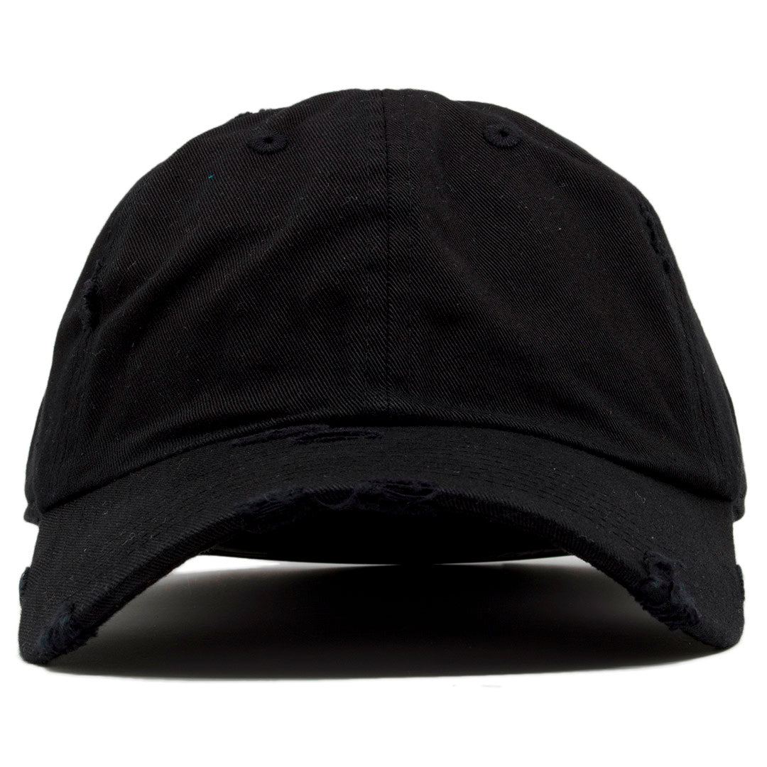 0047d392c6c324 The blank black vintage distressed dad hat has a soft crown and a bent brim.