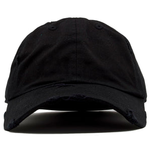 The blank black vintage distressed dad hat has a soft crown and a bent brim.