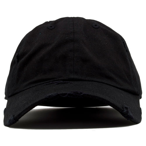 73ebe536592 The blank black vintage distressed dad hat has a soft crown and a bent brim.