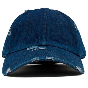 The blank dark denim vintage distressed dad hat has a soft crown and a bent brim.